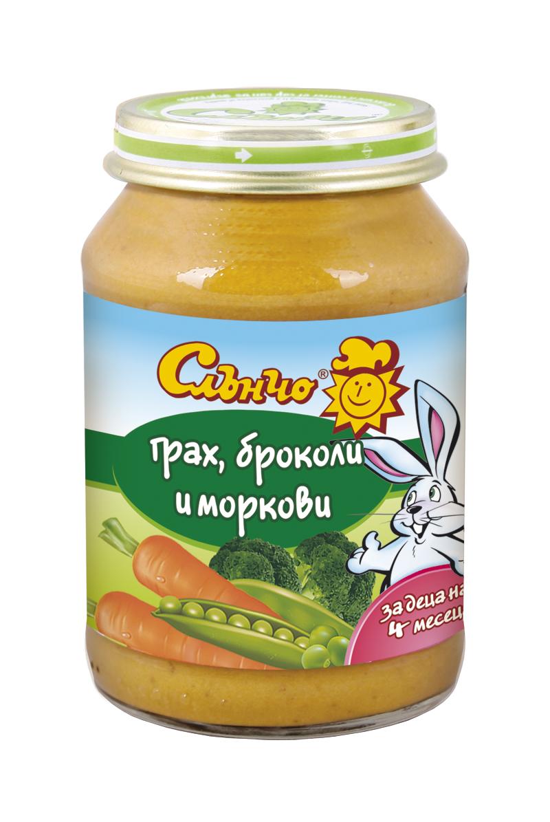 Грах, броколи и моркови